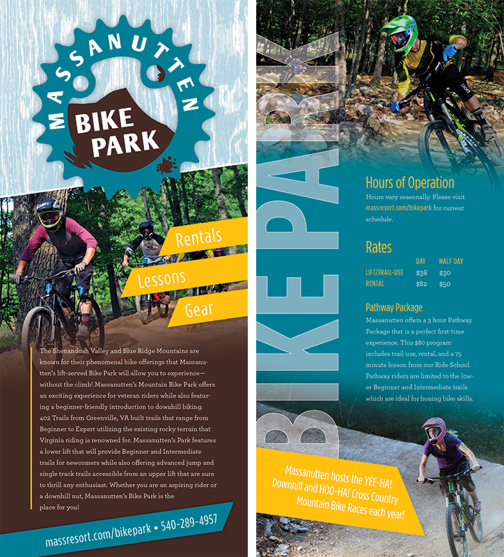Massanutten Bike Park Rack Card  July 2016 | Informational rack card featuring the Bike Park at Massanutten