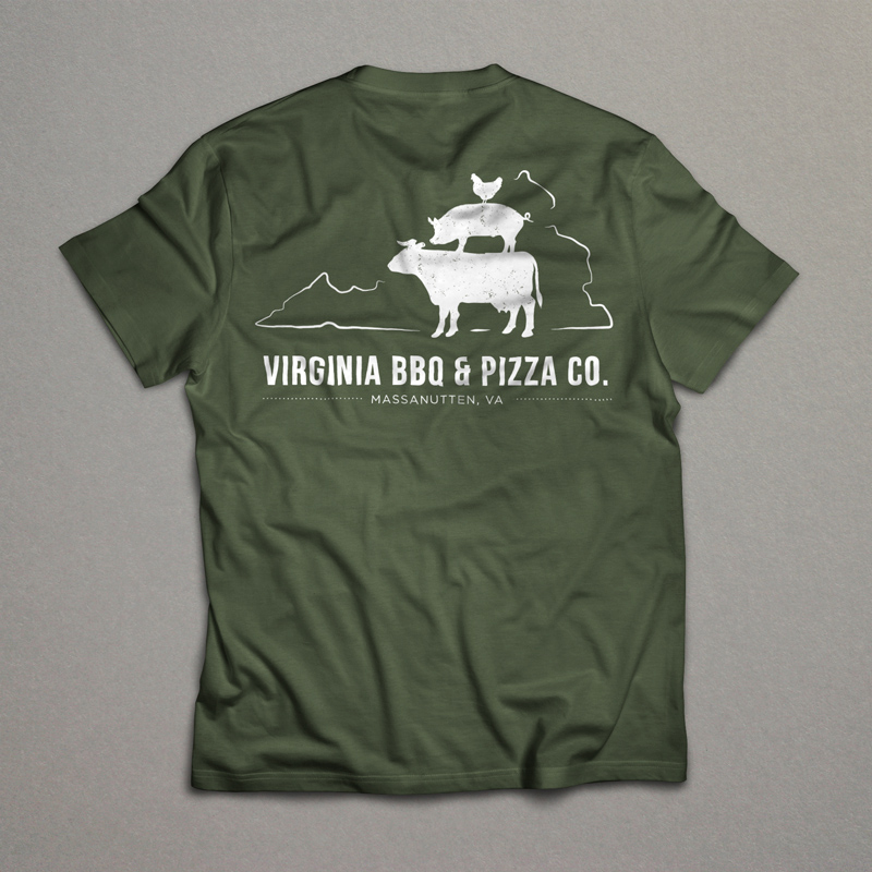 Virginia BBQ & Pizza Co. T-Shirt  May 2016 | T-shirt design for Massanutten Resort's newest restaurant