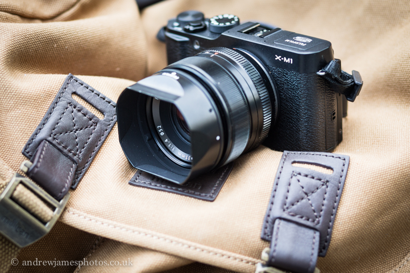 The petite X-M1, with 35mm lens, sitting on 'Christopher', the new Millican bag designed for the X-Series of Fuji cameras.