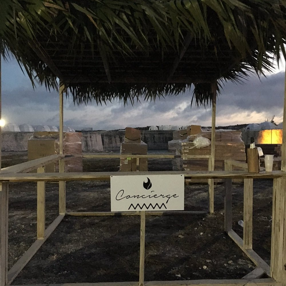 Luxury concierge booth at Fyre Festival