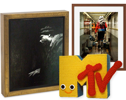 Thelonious Monk painting (Wayne Chang), crocheted MTV (Nicole Gastonguay), street photography (Mo Riza).