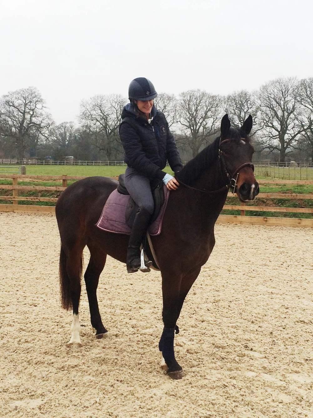 Argenta arising 4 year old broken by Dereck with her owner Helen Crudenon only her second day of being ridden