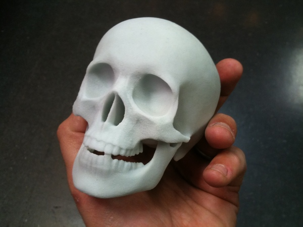 3D printed glass skull.