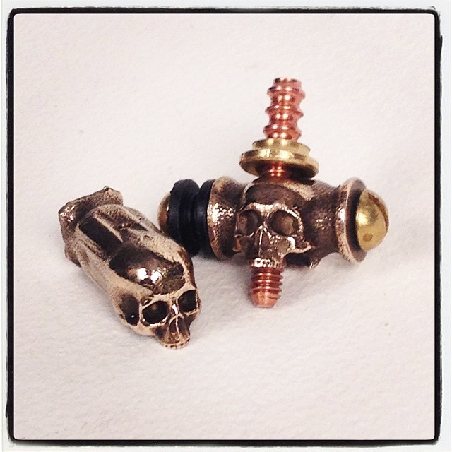 Custom, bronze, skull binding posts. $100/set