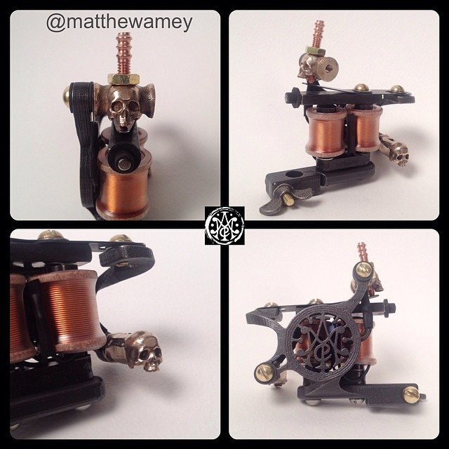 "My ""Maker's Mark"" signature tattoo machine with custom skull binding posts installed. Super fancy!"