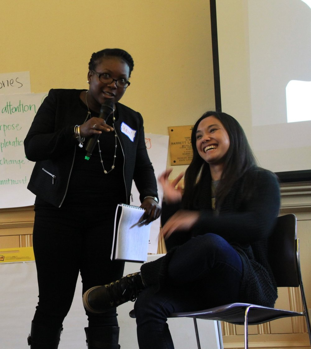 Participant Alicia Ziegler models a one-to-one while Hazel facilitates the module on relationships