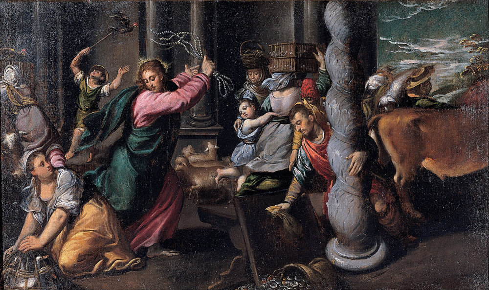Jesus casts money changers and merchants out of the temple