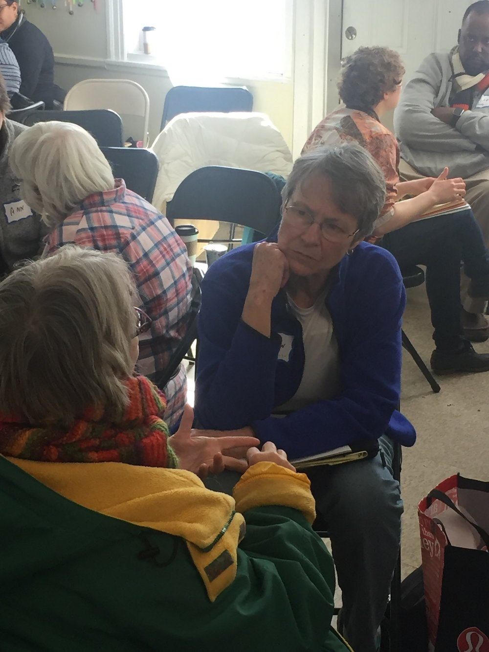 The Rev. Barbara Williamson, from St. Elizabeth's Sudbury, and (NAME?) from Milton Courageous Conversations practice coaching at the March workshop.