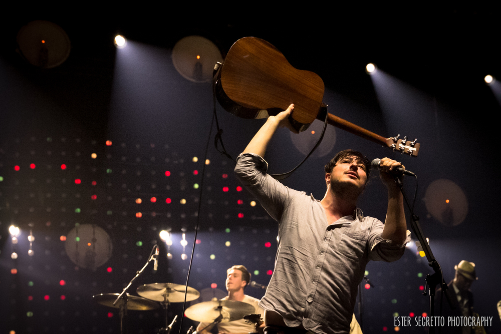 "Marcus Mumford during encore performance of ""The Weight"" at Barclays Center in Brooklyn, just days after winning the Grammy for Best Album for ""Babel""."