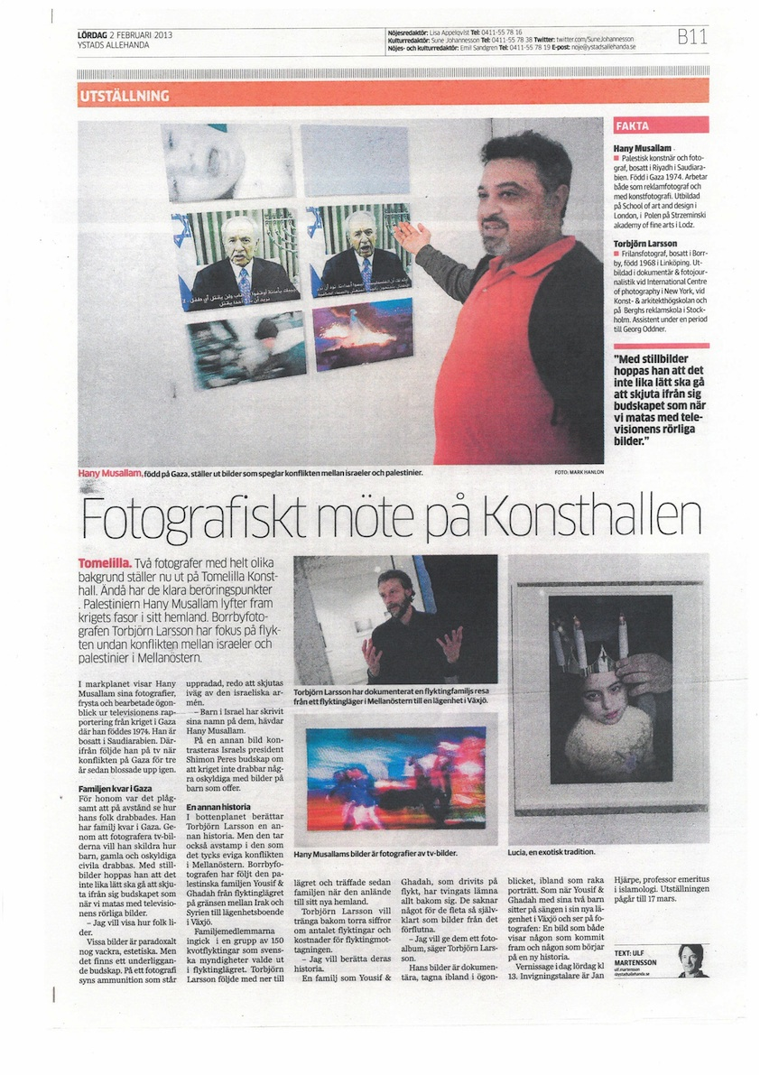 Ystads Allehanda article published on 02.02.2013, By Ulf Martensson