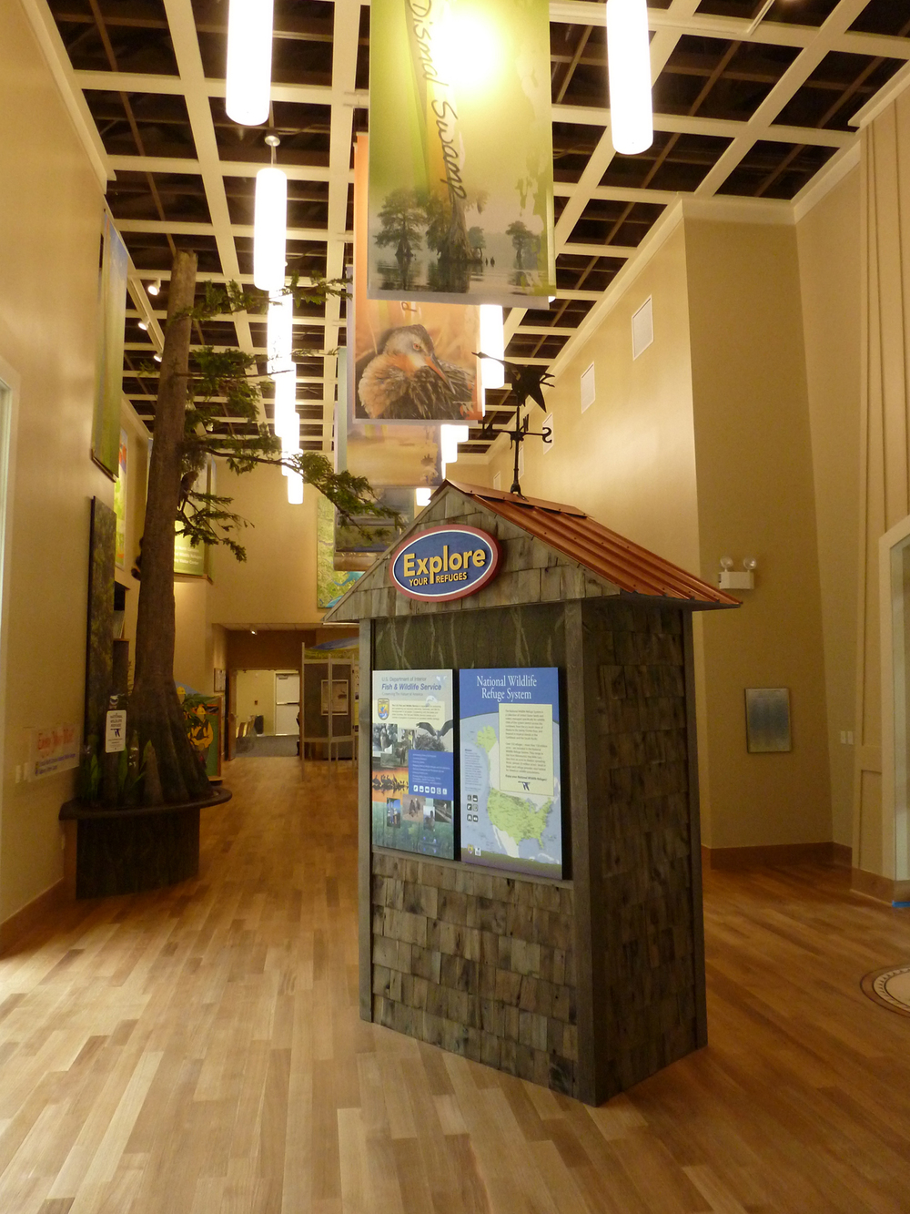 Standard USFWS panels invite visitors to explore their refuges with an interactive touchscreen display.
