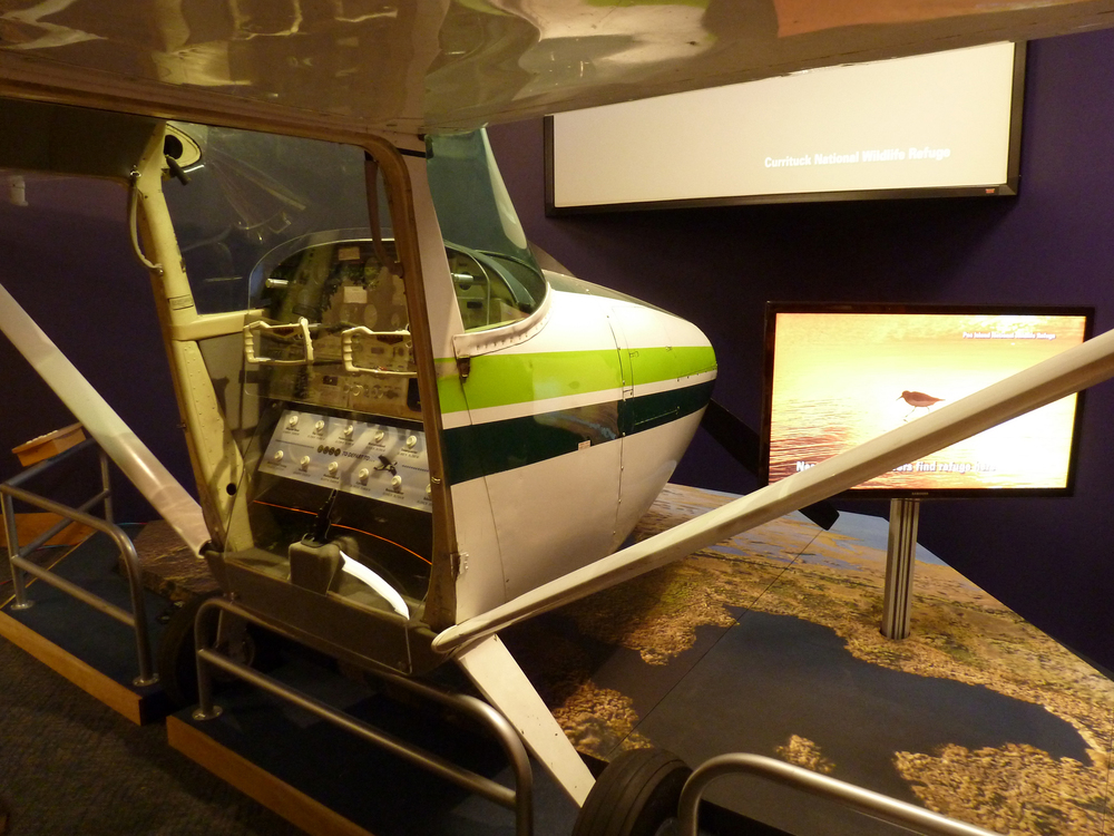 An intriguing flyover exhibit allows visitors to enter a real Cessna airplane to take an interactive, virtual aerial tour of each of the area's refuges.