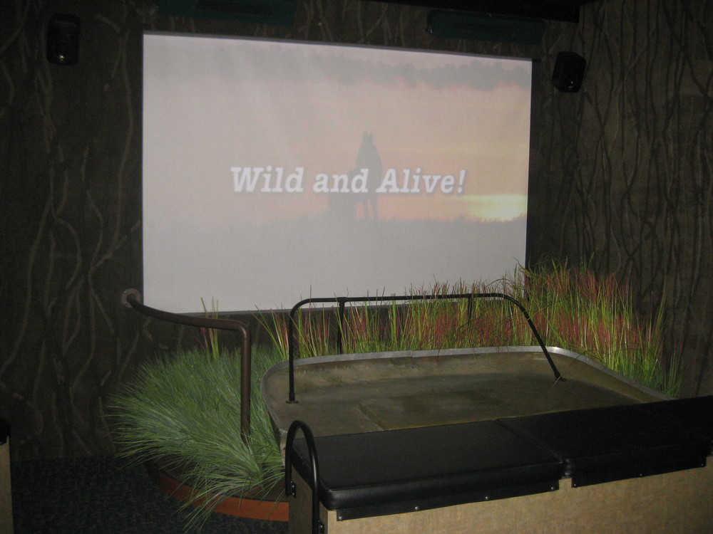In the object theater, visitors sit in a real airboat for a virtual ride through refuge marshes. Solid-state digital media players are used for longevity and ease of updating. Wiring is never left exposed, and all electronics are protected in lockable cases with security fasteners.