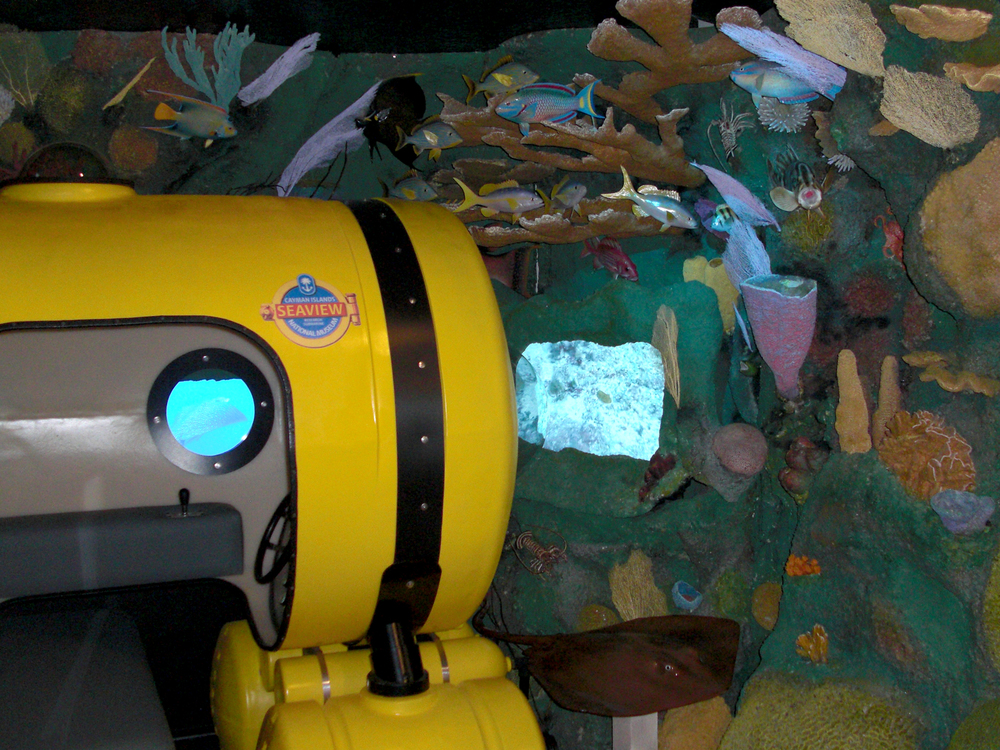 "A re-created submarine features video clips of reef residents as well as deep sea creatures during a simulated ""dive."""