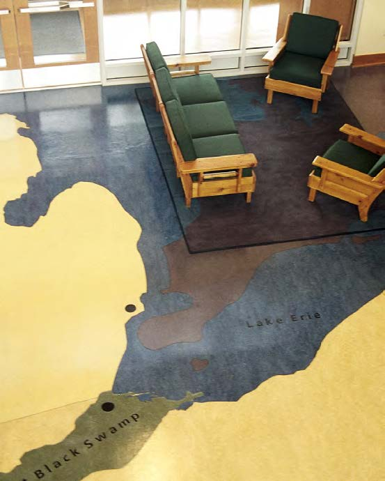 Custom floor in the main lobby featuring historic map of the area.