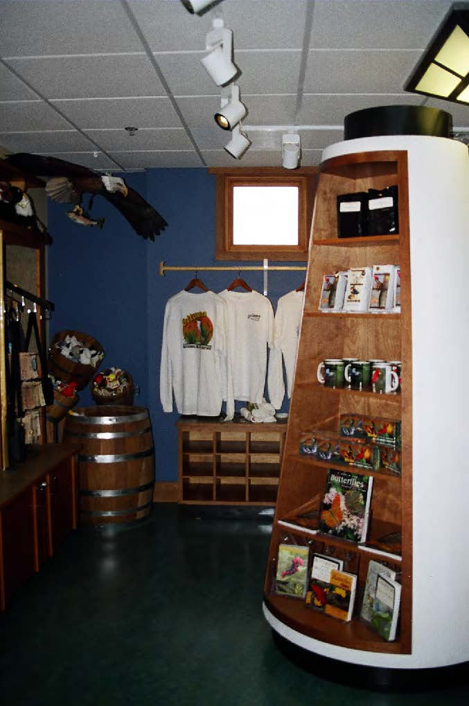 Gift shop includes custom-designed fixtures.