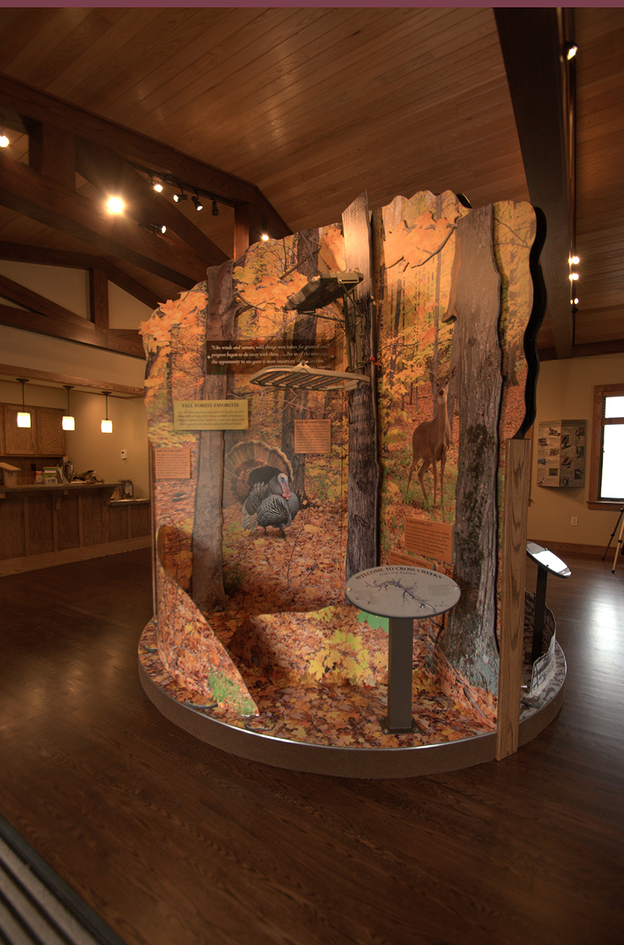The centerpiece of the room- a three sided, rotatable (per the season) display that highlights the major roles that Cross Creeks plays in conservation and management.