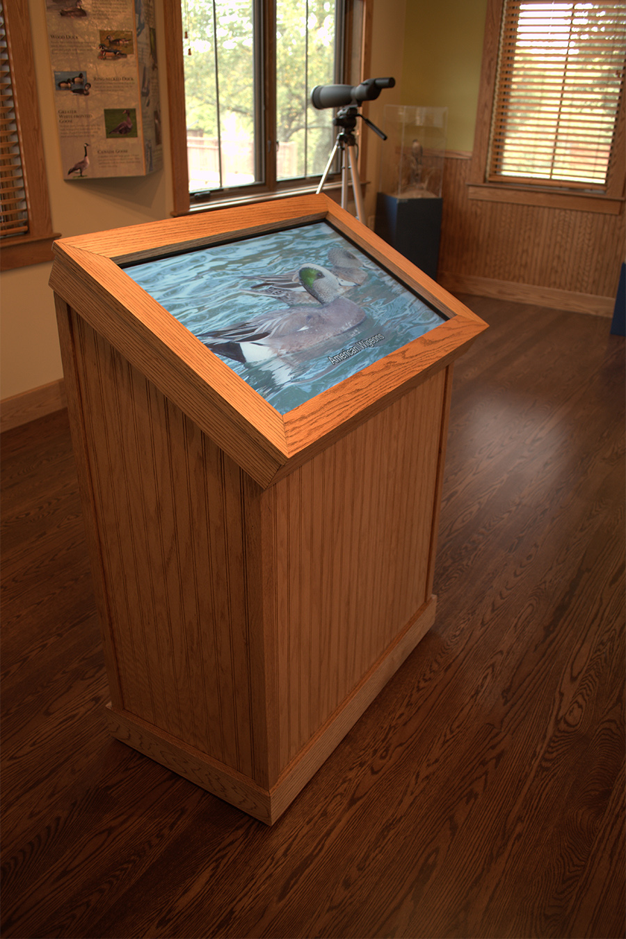 We programmed a custom touchscreen exhibit that teaches topics important to the refuge's purpose through video, photo, and audio narration.