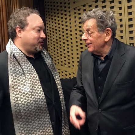 AME Artistic Director Robert Paterson chats with Philip Glass at the  Society of Composers and Lyricists  annual holiday party and awards ceremony.