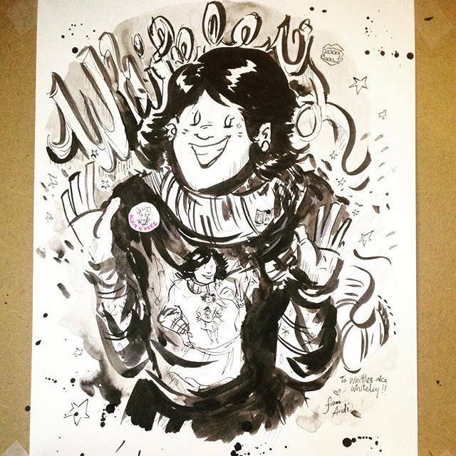 Sweater Swap!!! Ft. @whiteleyfoster! Ink wash, brush, an Alfie 4 Prez pin, and a whole lotta love ❤️ . . . #inkwash #ink #art #artistsoninstagram #comics #brushandink #speedball #wintervibes #rad #cozysweater #portrait #blackandwhite