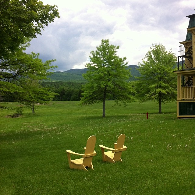 On the Middlebury College campus, adirondack chairs sprout like dandelions.