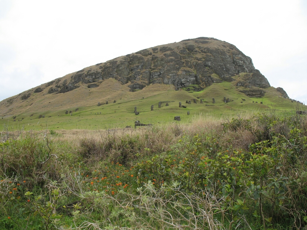 A volcanic crater, covered in Moai.