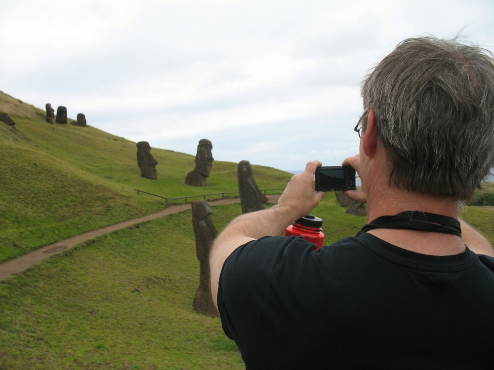 Taking pictures of Moai