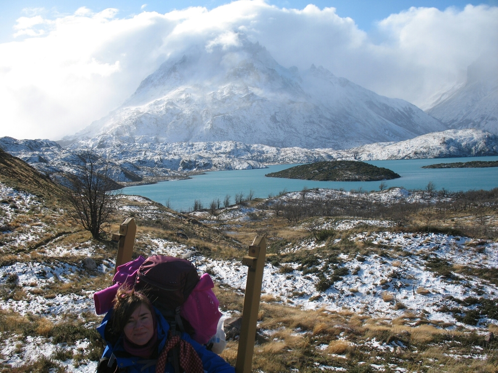 I carried about 40 pounds for around 30 miles over 5 and a half days. Sometimes, it was snowing. Punta Bariloche rising up in the back, there.