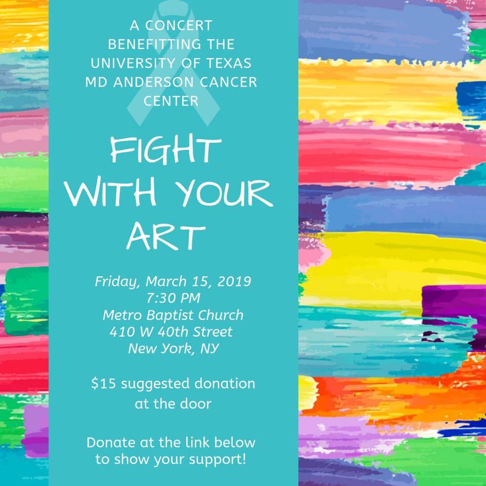 Fight With Your Art - Emily will be performing in a benefit concert on March 15 to raise money for the University of Texas MD Anderson Cancer Center. She would like to thank Ryan and Austin Jacobs for asking her to be a part of this special evening. .