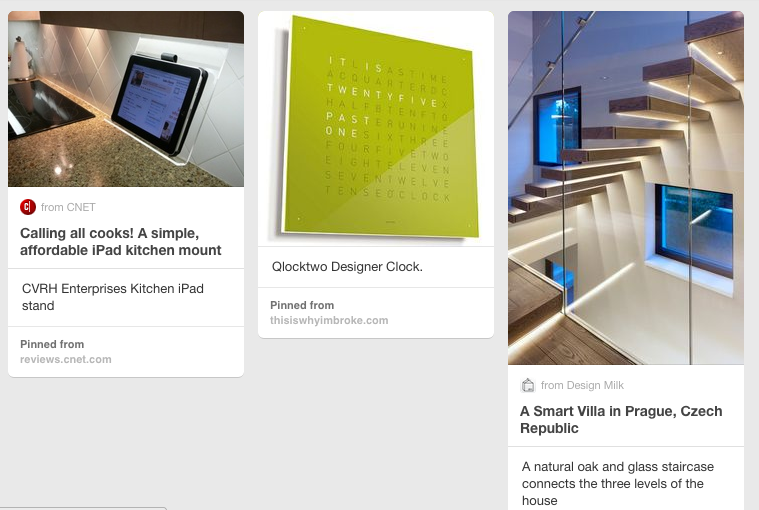 A few of Pinterest's technology-driven designs