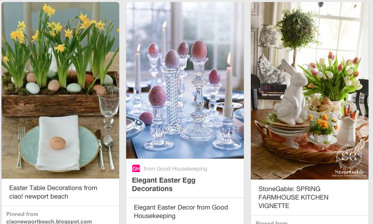A few Easter tablescapes from  Pinterest