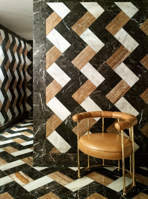 Kelly Wearstler Uses Different Colored Marble Tiles To Create A Wildly  Patterned Bathroom At The Tides South Beach