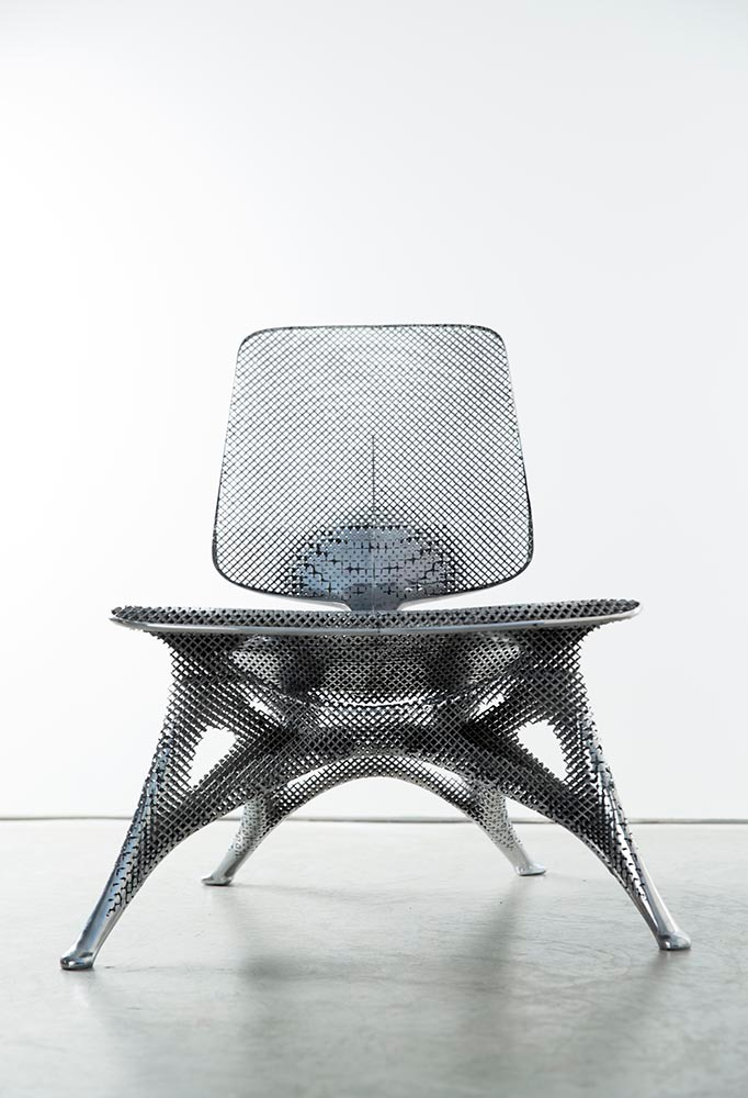 Aluminum Gradient Chair ,   Joris Laarman, laser-sintered aluminum