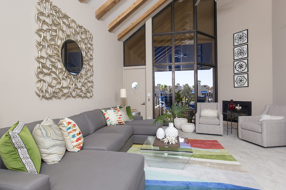 Beachside Condo Living Room - After