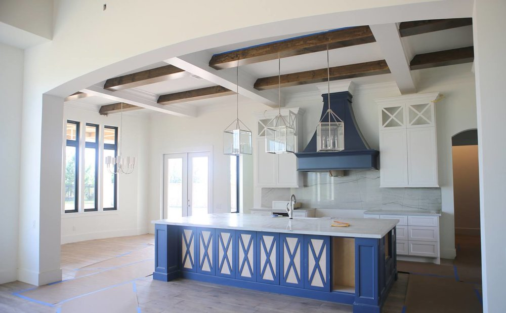 Beth Lindsay Interior Design; Benjamin Moore Van Duesen Blue and Shermin Williams Pure White.