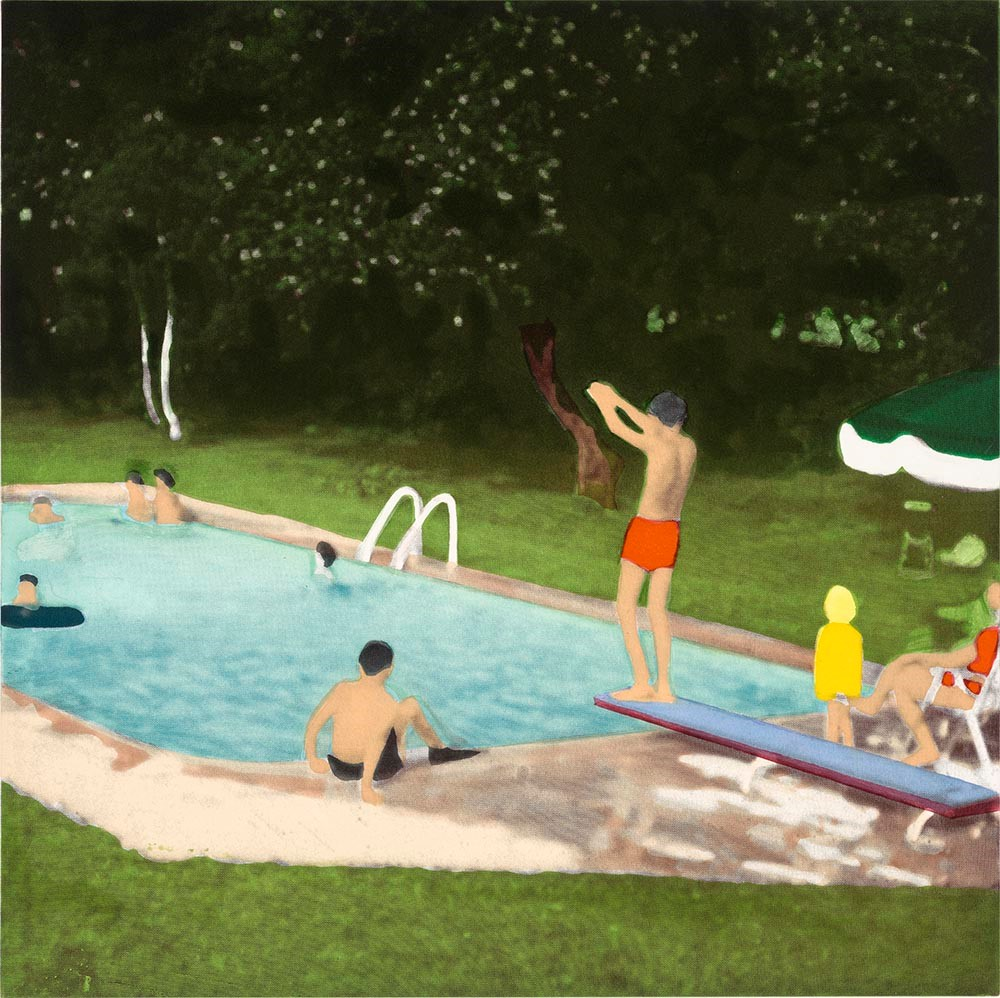Isca Greenfield-Sanders, published by Paulson Fontaine Press,  Red Suit Diver , from  The Swimming Pool Etchings , 2006, etching and aquatint in colors on paper, the Museum of Fine Arts, Houston