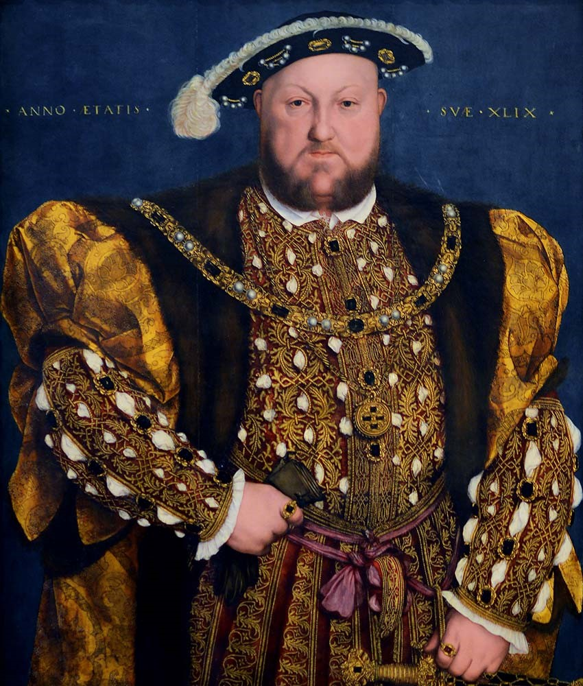 Hans Holbein the Younger,  Portrait of Henry VIII,  1540, oil on wood, Palazzo Barberini, Rome.