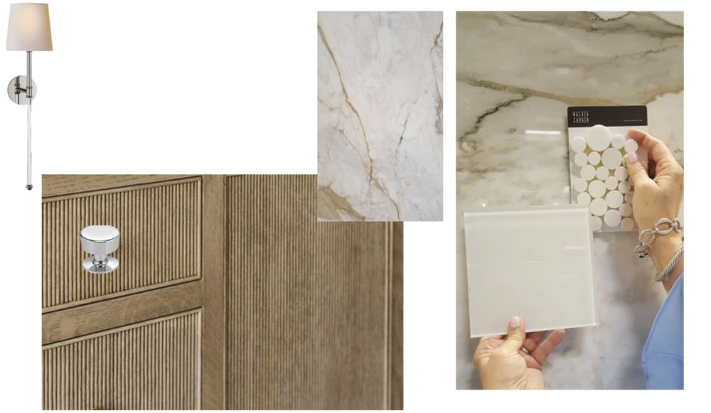 Back Wall of Shower and Counter tops: CALACATA MACCHIA VECCHIA; Shower Floor Tile: Walker Zanger Stone Mosaic PIETRA BELLO Penny Round; Wood Cabinets to have reeded detail; Lighting: Circa, Penelope sconce.