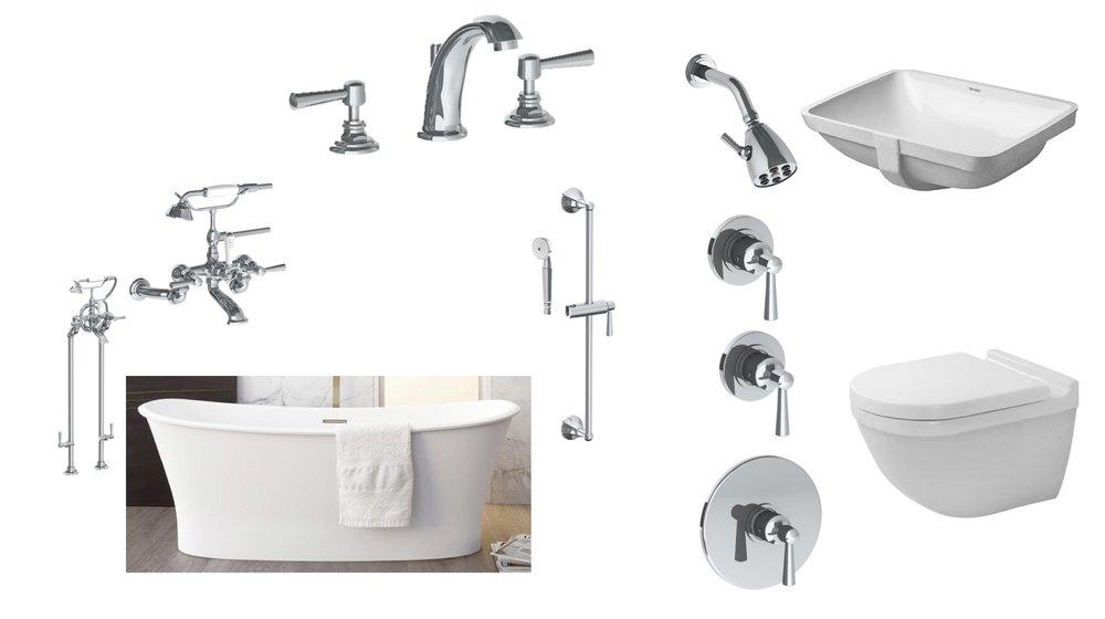 "Tub: Wetstyle ""Cloud""; Toilet and Sink, Duravit STARCK; Watermark, ""York""."