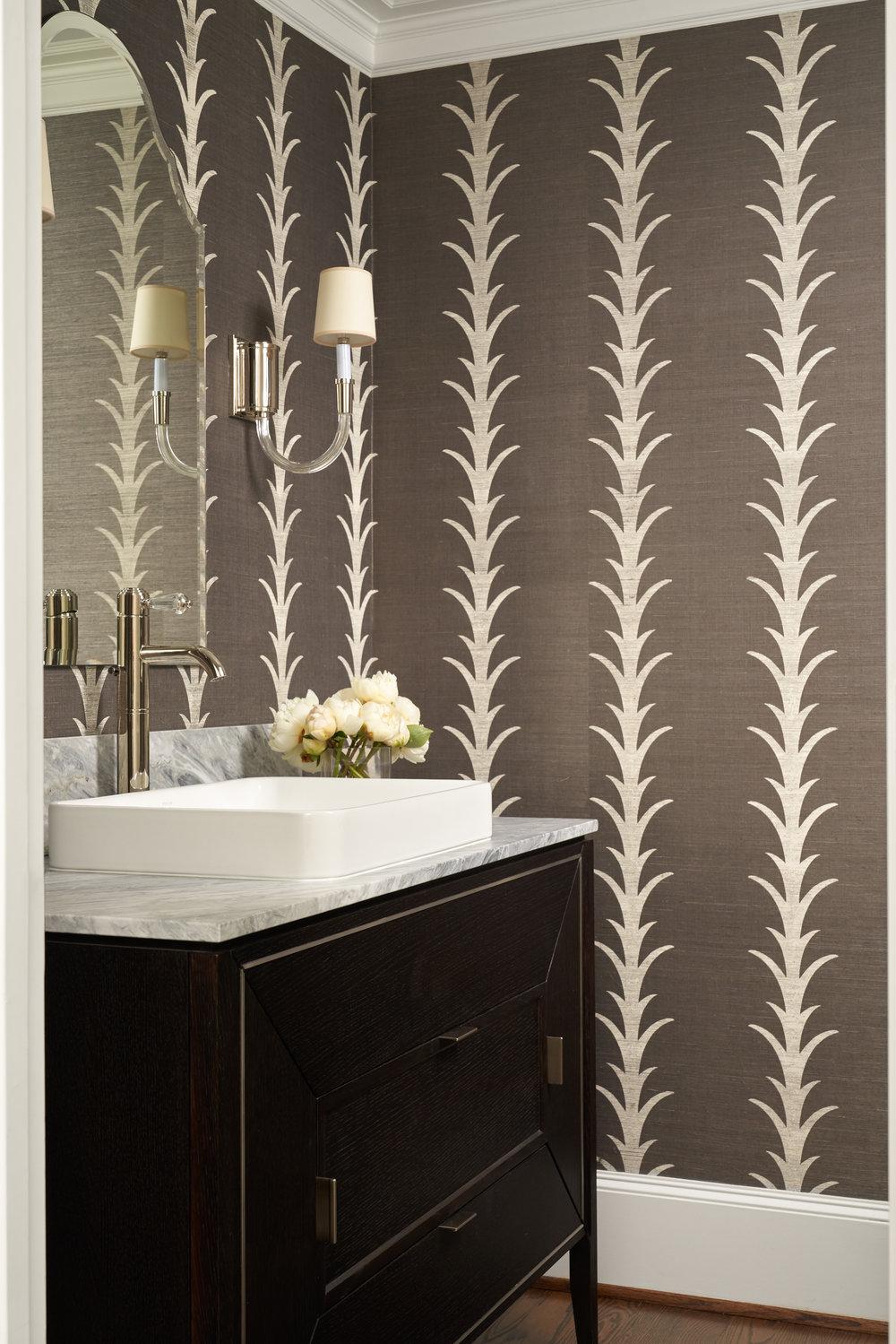 Powder room interior by Beth Lindsey Interior Design.
