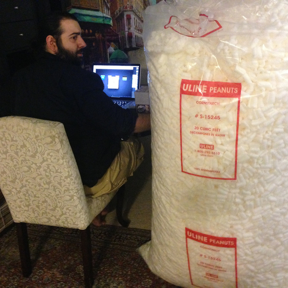 Little did Ali know that this human sized bag of peanuts still wasn't enough to pack all the orders.