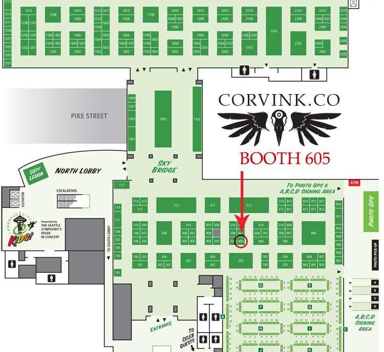 Corvink Booth 605 @ Emerald City Comicon! #ECCC