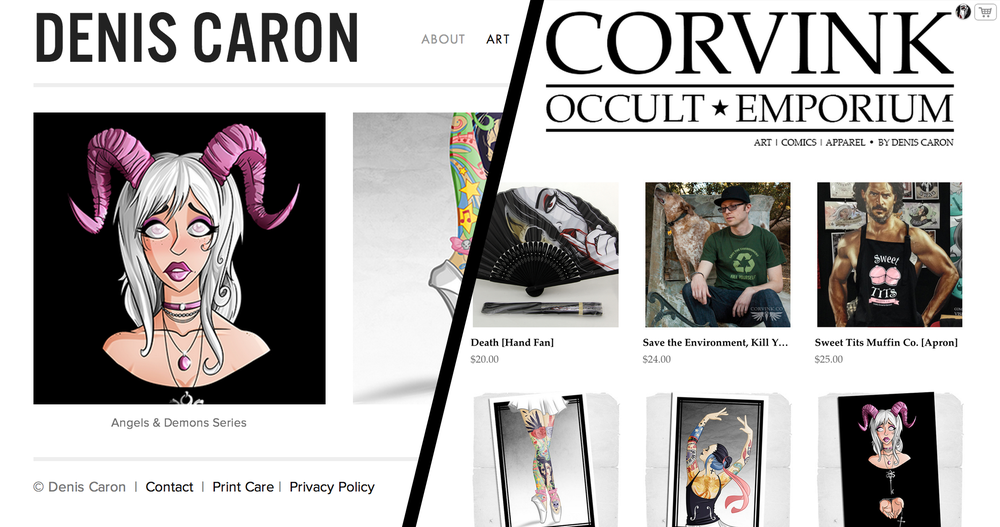DenisCaron.com & Corvink.Com Split with similar designs.