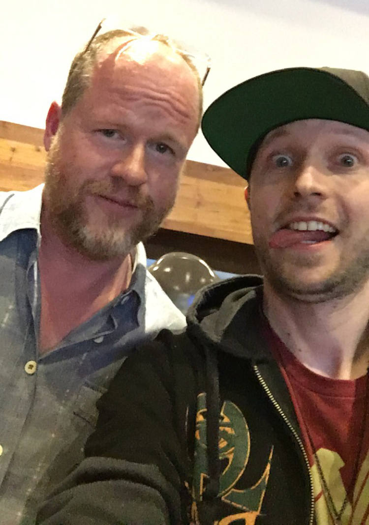 Denis Caron taking a silly selfie with Joss Whedon.