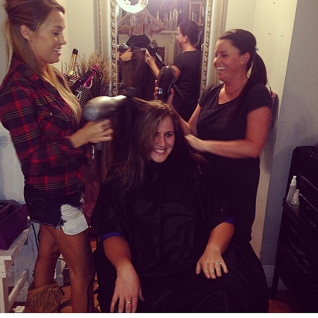 @chelsea_rae_carter getting the V.I.P service at @troubadoursalon we love @Jess_campbellll for helping!!!