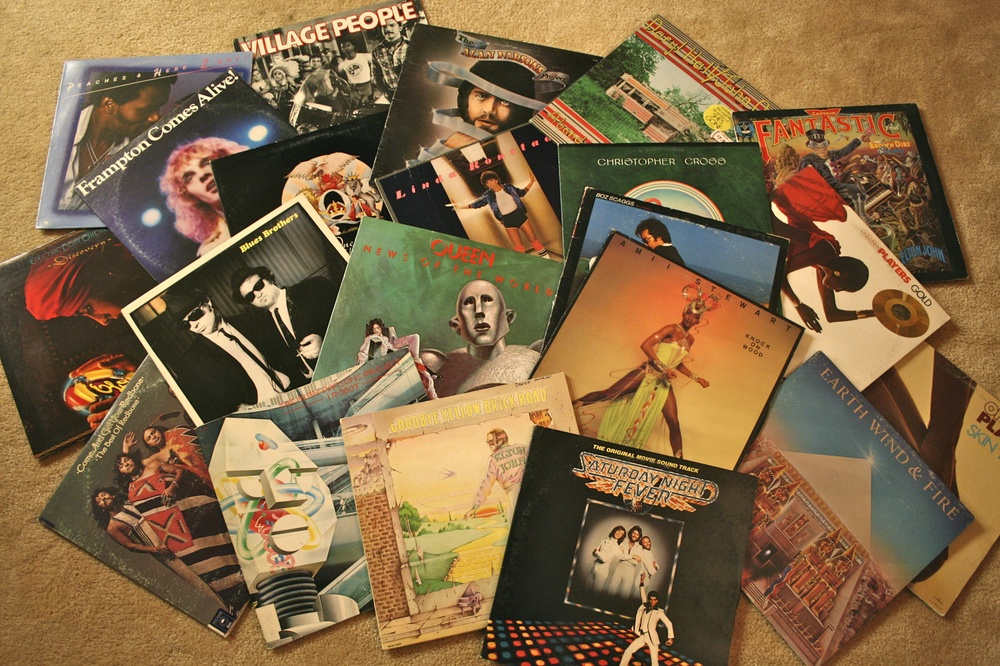 Here's a taste of my album collection. The 70s in a box, including the mandatory copy of Frampton Comes Alive.