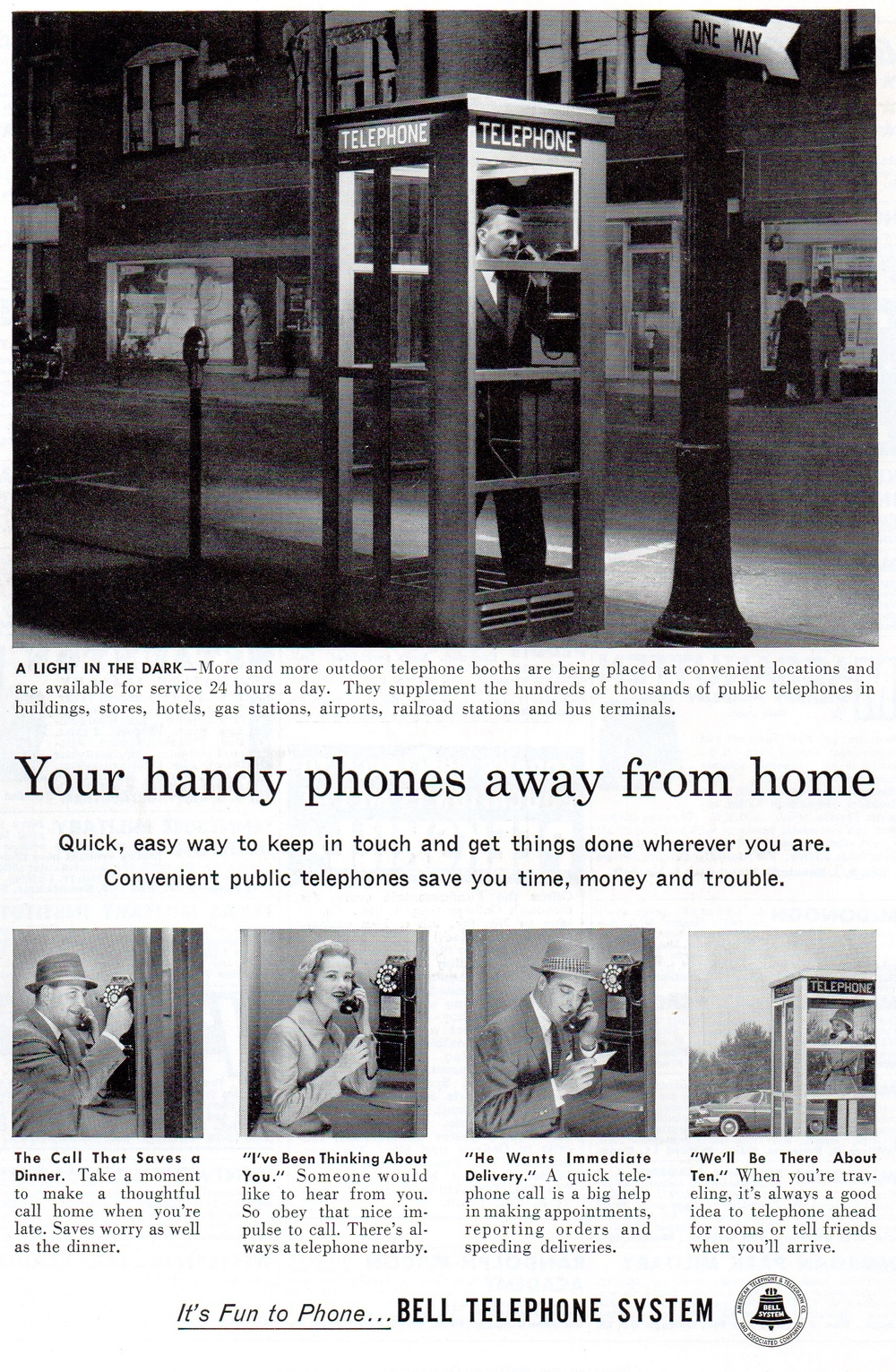 The Bell Telephone System wants you to stop by the side of the road to tell someone hi.