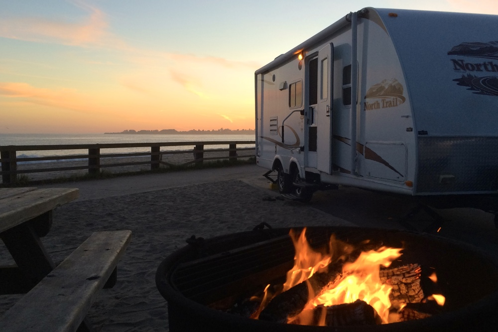 Camping at Seacliff State Beach in Aptos, CA. It's worth the hassle.