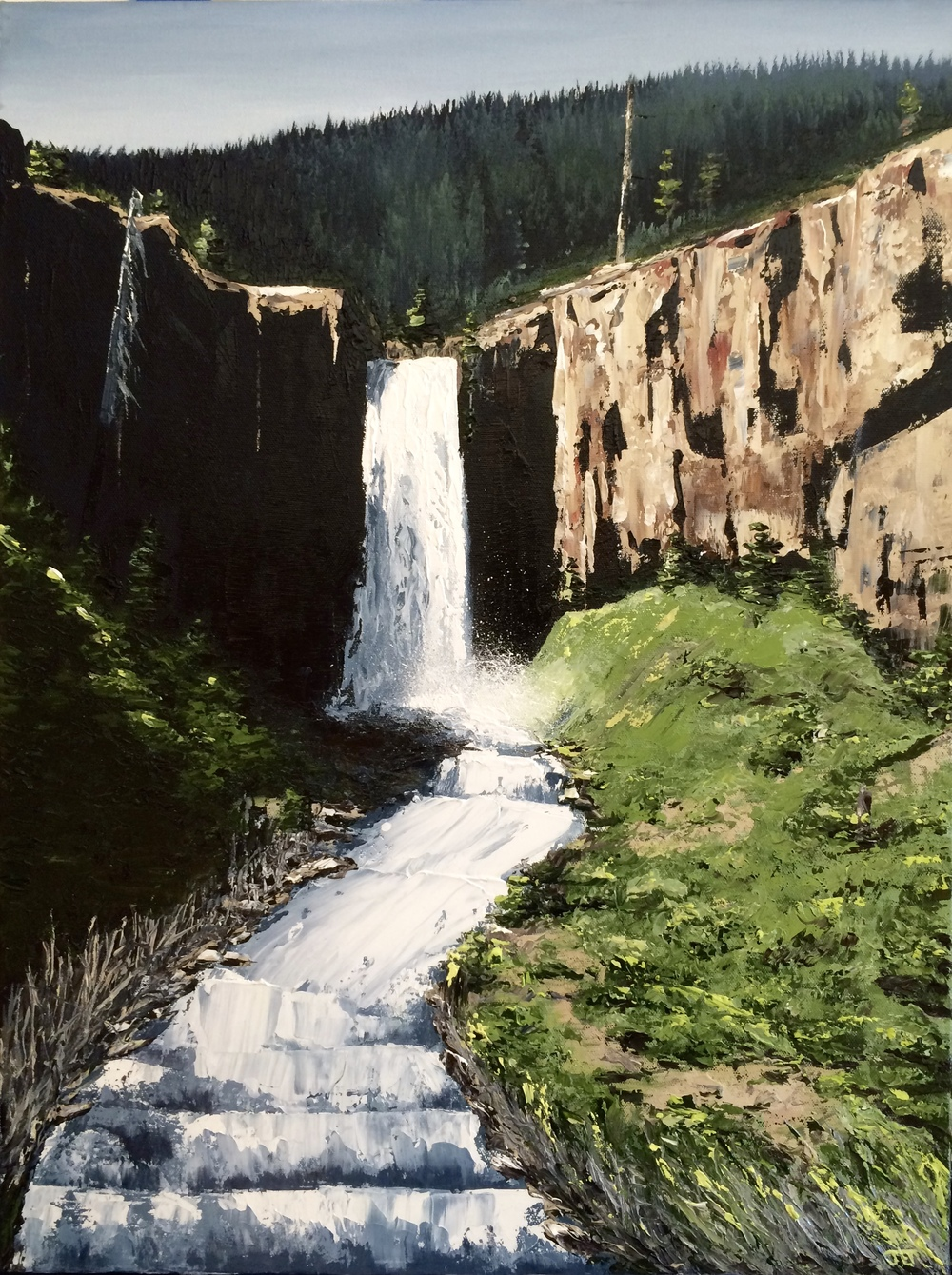 Here's a painting of Tumalo Falls that I finished in April.
