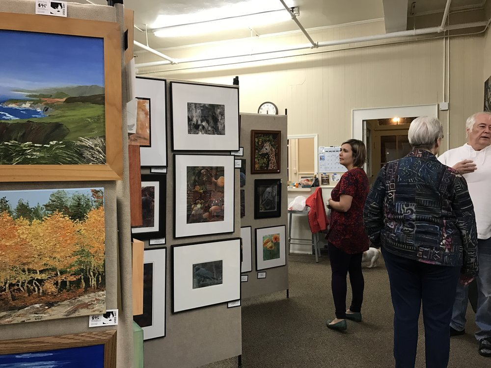 A little of my booth (left), Carolyn Gunderson's beautiful work in the center, and a peak at Katey Sandy's booth at the end.